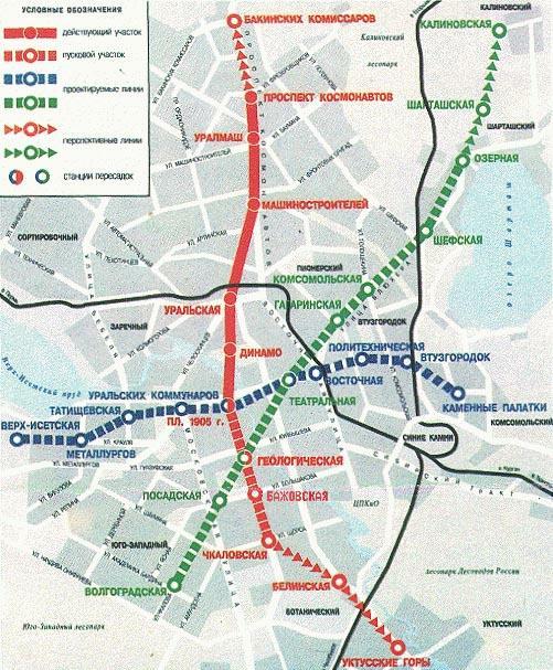 Схема линий на карте города